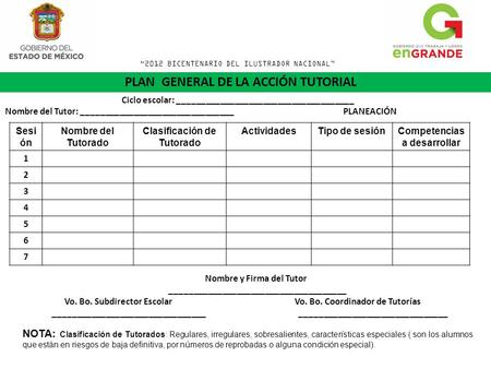 PLAN GENERAL DE LA ACCIÓN TUTORIAL