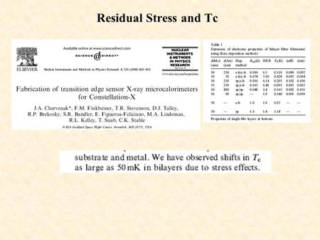 Residual Stress and Tc. Stress and Tc  Optimal deposition condition Mo/Au by e-beam  Stress and Tc independent of deposition rate 0.1-0.5 nm/s  Stress.
