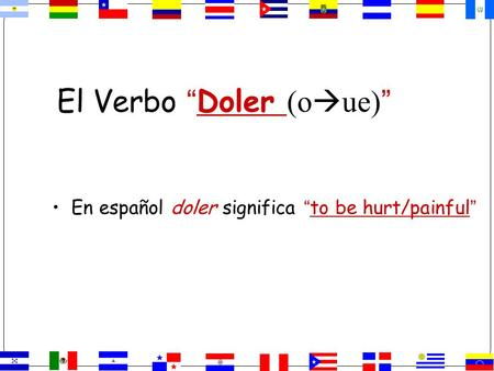 "El Verbo ""Doler (o  ue) "" En español doler significa ""to be hurt/painful"""