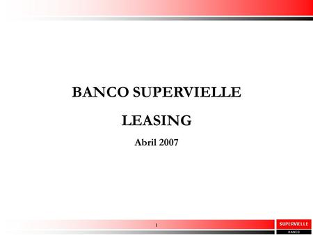 BANCO SUPERVIELLE LEASING