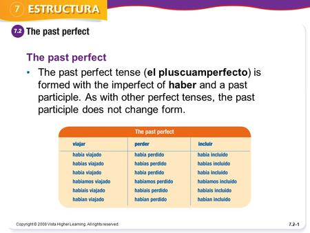 Copyright © 2008 Vista Higher Learning. All rights reserved. 7.2–1 The past perfect The past perfect tense (el pluscuamperfecto) is formed with the imperfect.