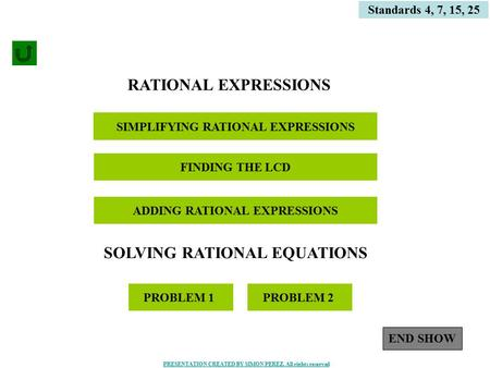 1 SOLVING RATIONAL EQUATIONS SIMPLIFYING RATIONAL EXPRESSIONS Standards 4, 7, 15, 25 ADDING RATIONAL EXPRESSIONS PROBLEM 1 RATIONAL EXPRESSIONS PROBLEM.