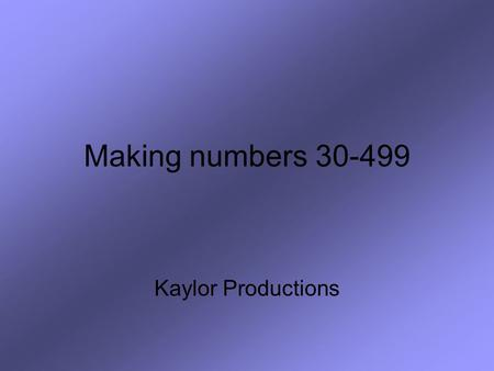 Making numbers 30-499 Kaylor Productions. We begin by learning the root words 30 = treinta100 = cien 40 = cuarenta101 = ciento uno 50 = cincuenta113 =