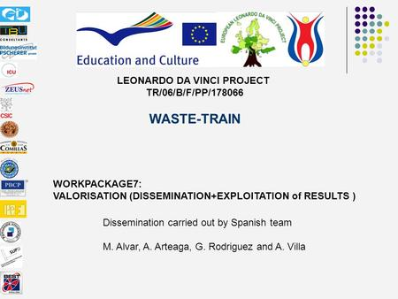 LEONARDO DA VINCI PROJECT TR/06/B/F/PP/178066 WASTE-TRAIN WORKPACKAGE7: VALORISATION (DISSEMINATION+EXPLOITATION of RESULTS ) Dissemination carried out.