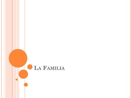 L A F AMILIA. V OCABULARIO El abuelo – grandfather La abuela – grandmother Los abuelos – grandparents El esposo – husband La esposa – wife El hermano.