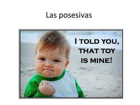 Las posesivas. Lo basico Mi- my Tu- your Su- his/ her/ your(Usted) Nuestro, nuestra- our Su- their/ your (Plural)