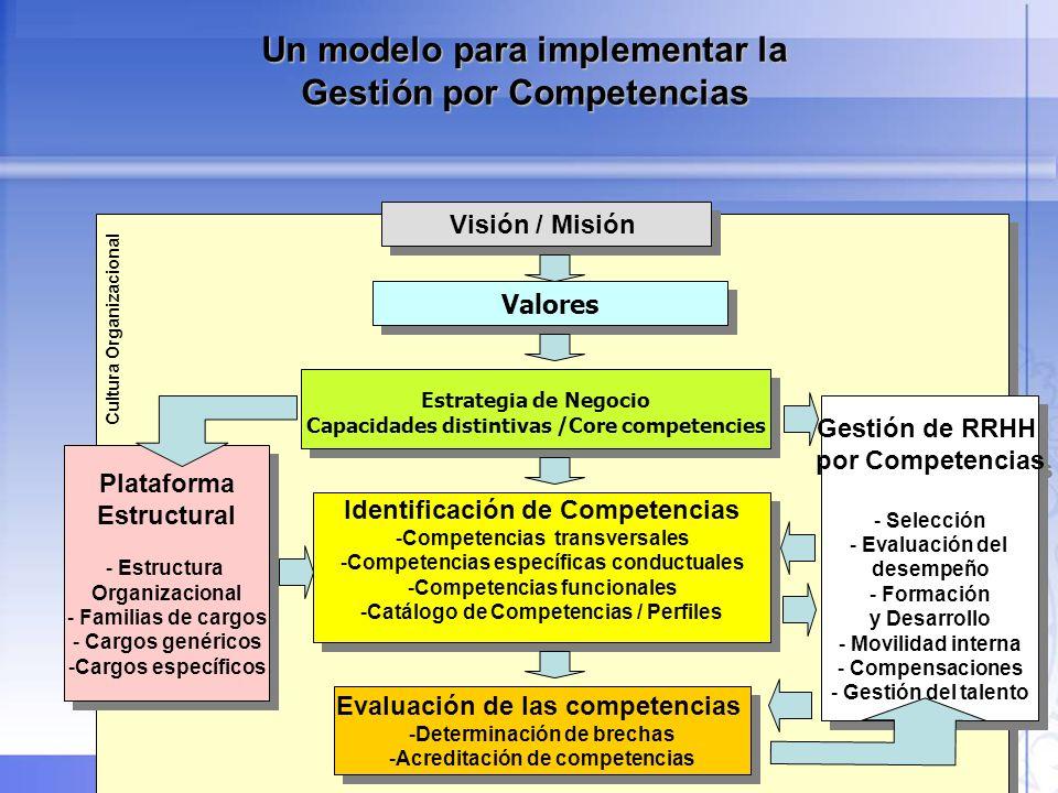 35 VISIÓNMISIÓN Lo que queremos lograr VALORES La forma en que hacemos las cosas ESTRATEGIA DE NEGOCIO Cómo lograremos la visión (incluye objetivos para unidades de negocio y/o gerencias funcionales) COMPETENCIAS DE LA ORGANIZACIÓN (CORE COMPETENCIES) En qué tenemos que ser buenos para alcanzar nuestros objetivos y visión COMPETENCIAS DE LAS PERSONAS En qué debe ser buena nuestra gente para sustentar nuestras competencias de negocio y lograr nuestros objetivos y visión El énfasis que se debe poner: Alineación Organizacional