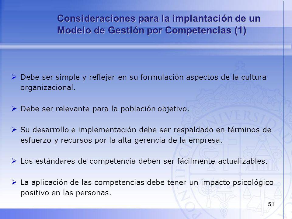 52 En las fases iniciales de implementación, el modelo de competencias debe estar vinculado a oportunidades de desarrollo para los empleados.