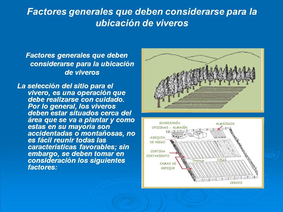 Factores generales que deben considerarse para la ubicación de viveros 1.