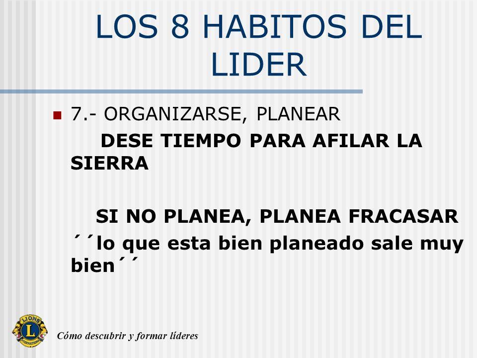 Cómo descubrir y formar líderes LOS 8 HABITOS DEL LIDER 8.- PASION EN EL CARGO Hágalo Bien SEA UN FUNCIONARIO O SOCIO 100 POR CIENTO