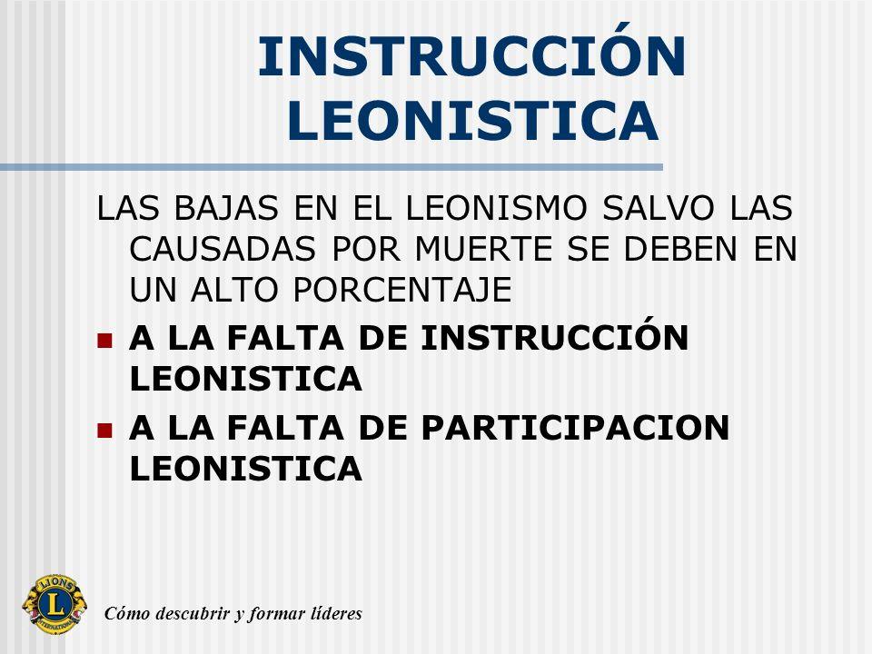 Cómo descubrir y formar líderes INSTRUCCIÓN LEONISTICA LA INSTRUCCIÓN LEONISTICA PREPARA MENTALMENTE A LOS LIDERES DEL MAÑANA Y A TODOS LOS SOCIOS PARA DECIR CON ORGULLO.........