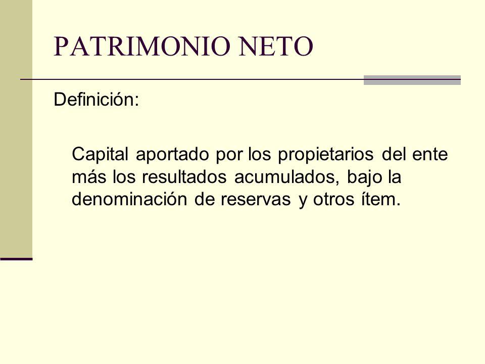 PATRIMONIO NETO Clasificación: Aportes de los Propietarios Resultados Acumulados