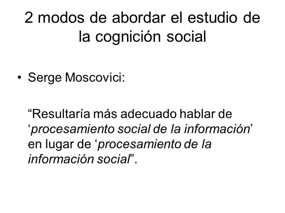 2 modos de abordar el estudio de la cognición social Un punto de vista individualista y uno colectivo.