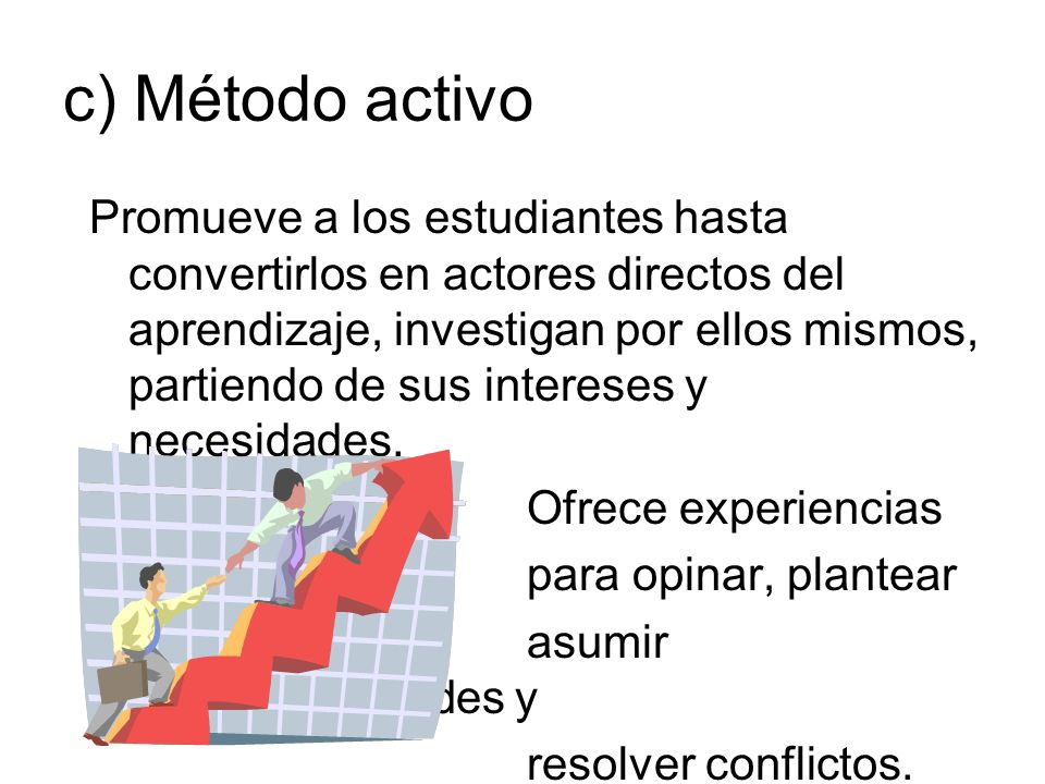 d) Método experimental Somete un sistema material a ciertos estímulos y observar su reacción para resolver un problema de relación estímulo-respuesta.