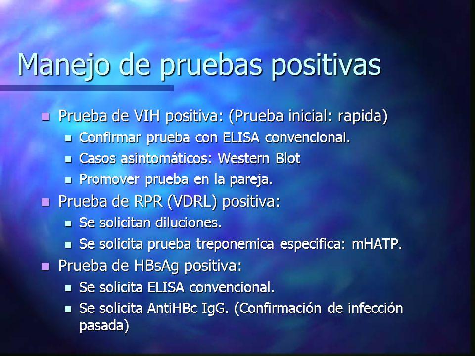 ENFERMEDADES TAMIZADAS Y PRUEBAS REALIZADAS ENFERMEDAD PRUEBA RÁPIDA COMPLEMENT ARIA CONFIRMATO - RIA VIH/SIDA DETERMINE (ABBOTT) INMUNOCOM B WESTERN BLOT ELISA (ROCHE) HEPATITIS B DETERMINE(ABOTT) ELISA (HBsAg) No disponible ELISA ( ANTICORE IgG ) SÍFILISRPRVDRLMHATP