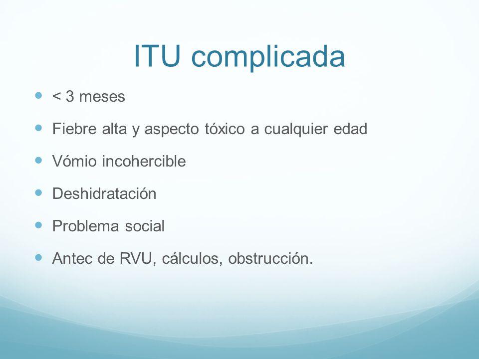 Pronóstico Mayoría no tienen consecuencias a largo plazo 32-46% ITU recurrente 10-20% RVU 10-20% cicatrices renales, de ellos 10-30% HTA 5-10% obstrucción Pocos desarrollan IR