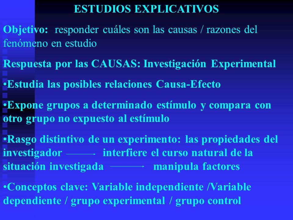 Pregunta del estudio experimental: ¿está la variable dependiente presente en el grupo experimental y ausente en el grupo control.