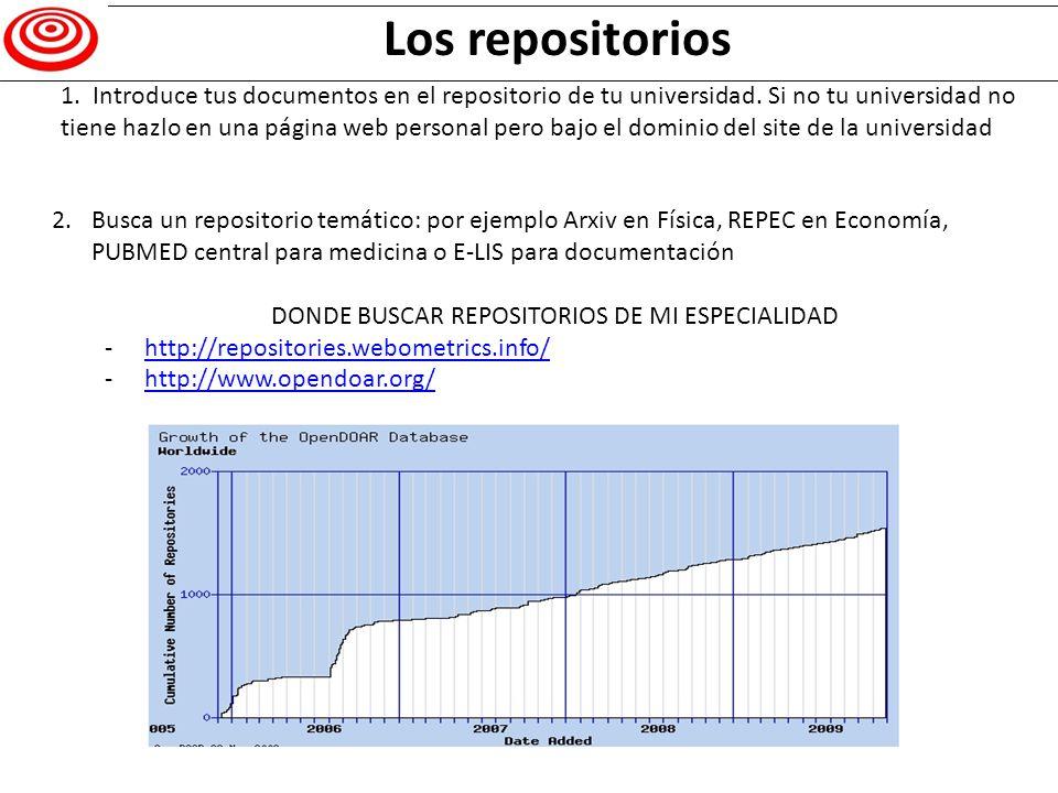 Los repósitorios permiten estadísticas Resitorios, estadí as Los repositorios permiten extraer estadísticas