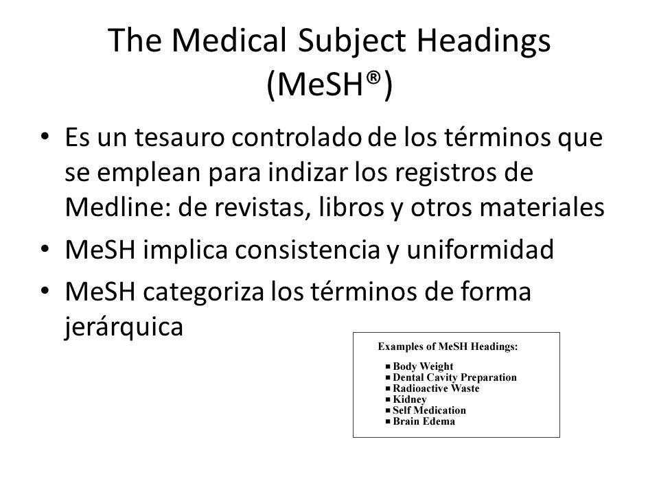 Temas principales Explosión automática: cuando se utilizan términos del Mesh, este incluye automáticamente los términos subardinados al seleccionado Muchos términos aparece bajo más de una rama