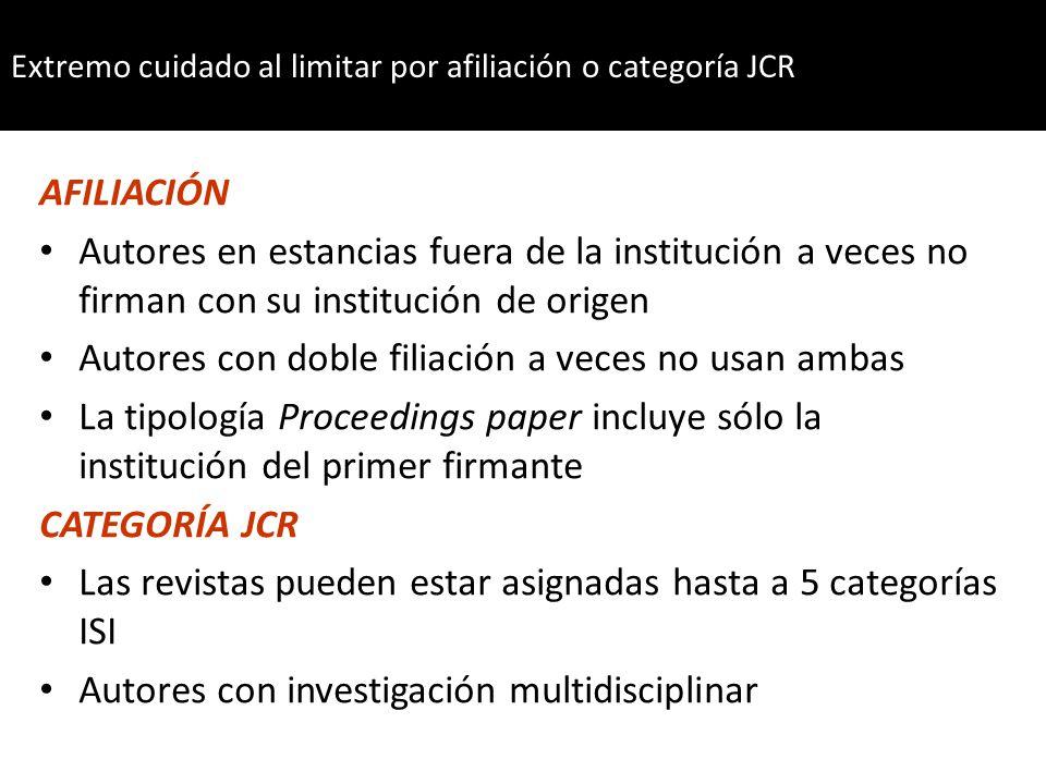 Para el caso de las instituciones WoS usa abreviaturas estándar y elimina las preposiciones universidad = univ; hospital = hosp Universidad de Murcia = Univ Murcia Universidad Politécnica de Valencia = .