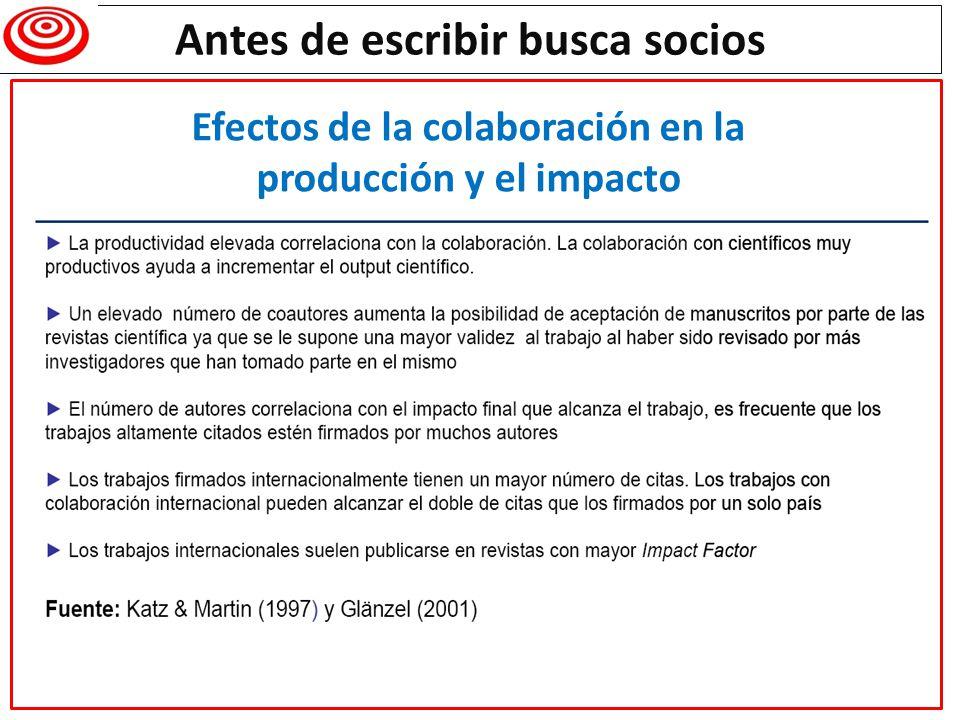 Antes de escribir busca socios Efectos de la colaboración en el impacto: el caso de la Universidad de Navarra
