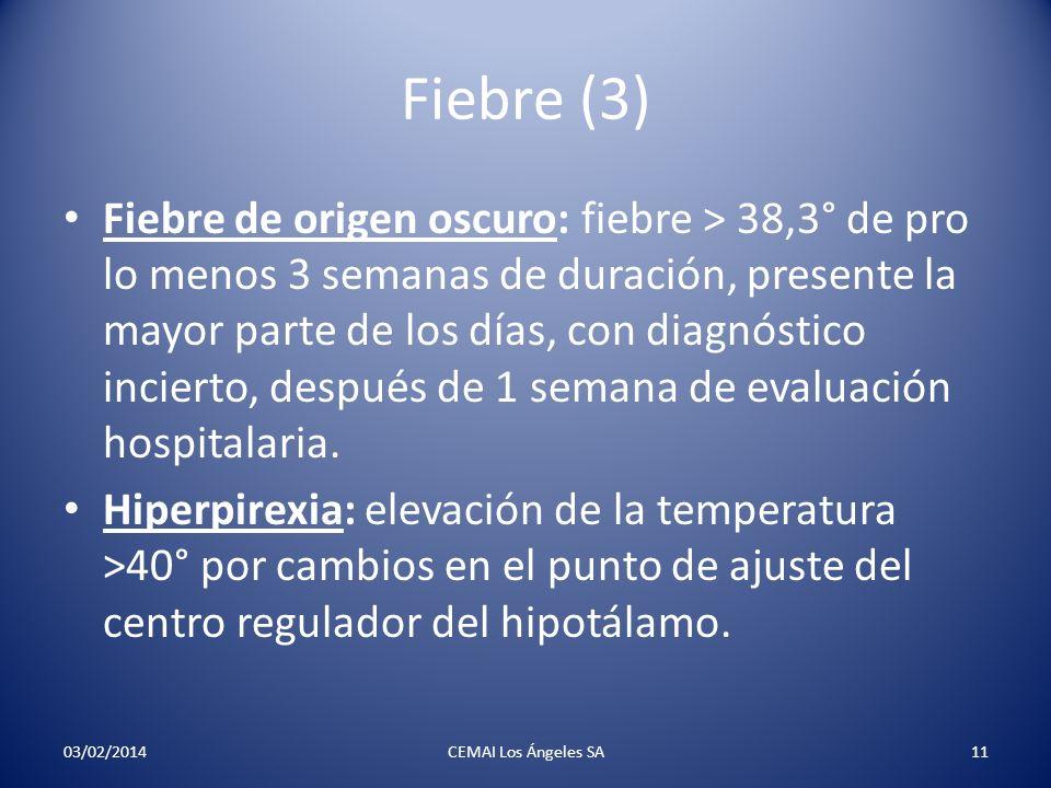Fiebre (4) Hipertermia: elevación de la temperatura sin cambios en el ajuste hipotalámico (exceso de ropas, etc).