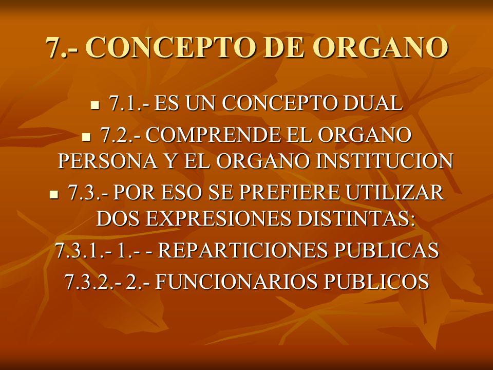 8.- CONCEPTO DE ORGANO (Procuración General de la Nación) 8.1.- El vocablo órgano se identifica con las reparticiones públicas que poseen una determinada esfera de competencia.