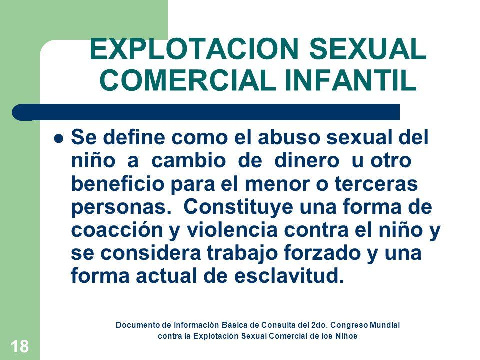 19 PROSTITUCION INFANTIL Es la utilización de un niño en actividades sexuales a cambio de remuneración o de cualquier otra retribución.