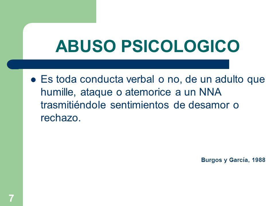 8 CONDUCTAS ASOCIADAS AL ABUSO EMOCIONAL RECHAZAR: No admitir la legitimidad de las necesidades del niño(a).