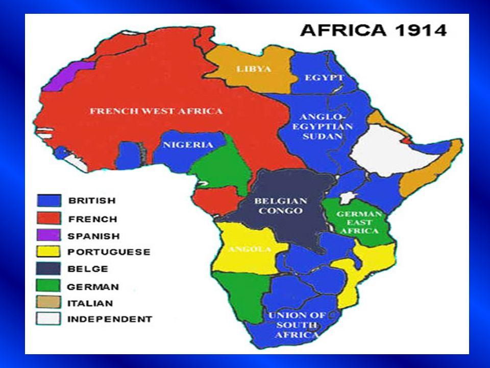 De la observación del siguiente mapa de África, elabore una lista con los territorios qué cada potencia europea dominó