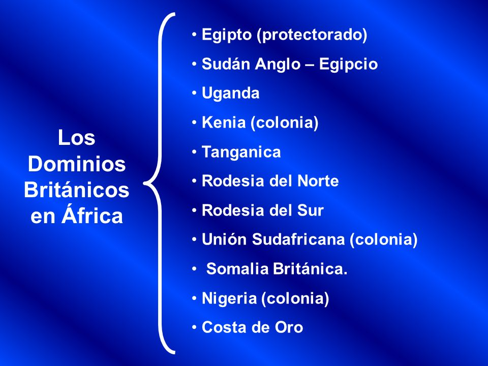 Los Dominios Franceses en África Túnez Marruecos (protectorado) Argelia África Occidental Francesa compuesta por: Mauritania, Senegal Guinea, Costa de Marfil, Níger, Burkina Faso, Benín y Malí Camerún Madagascar.