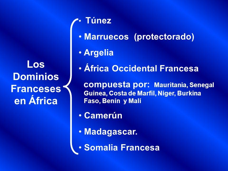 Los Dominios Españoles en África RÌO de Oro Pequeños territorio de Marruecos y Camerún Los Dominios Portugueses en África Gambia Sierra Leona Angola Mozambique