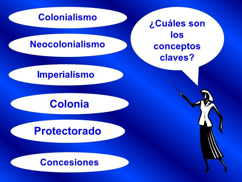 COLONIALISMO: es la influencia o la dominación de un país por otro más poderoso de una forma violenta, a través de una invasión militar, o sutil, sin que intervenga la fuerza.