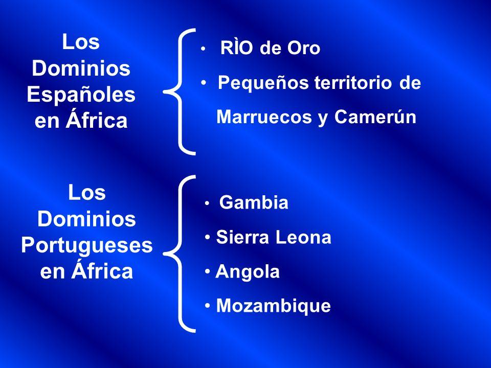 Los Dominios Alemanes en África Togo África del Sur Occidental África Oriental Un territorio entre Nigeria y Camerún Los Dominios Italianos en África Libia, Eritrea Somalia Italiana Los Dominios Belga en África El Congo Belga