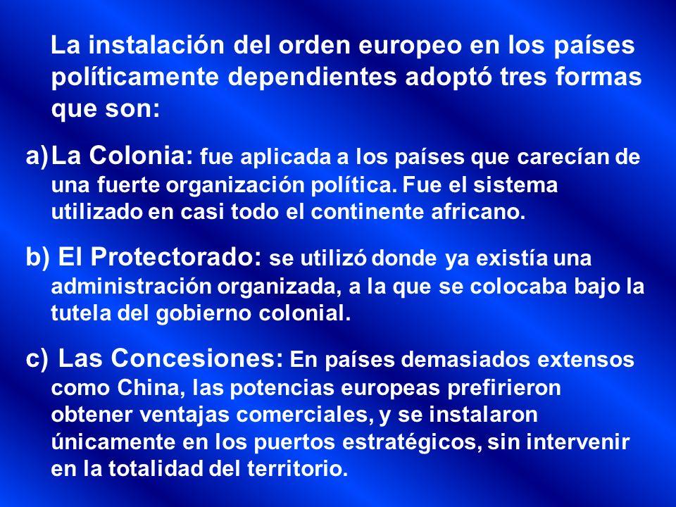 El Imperialismo del siglo XIX Formas de dominio ColoniaConcesionesProtectorado Sometida a la soberanía de la potencia colonizadora, y eran administradas por ella.