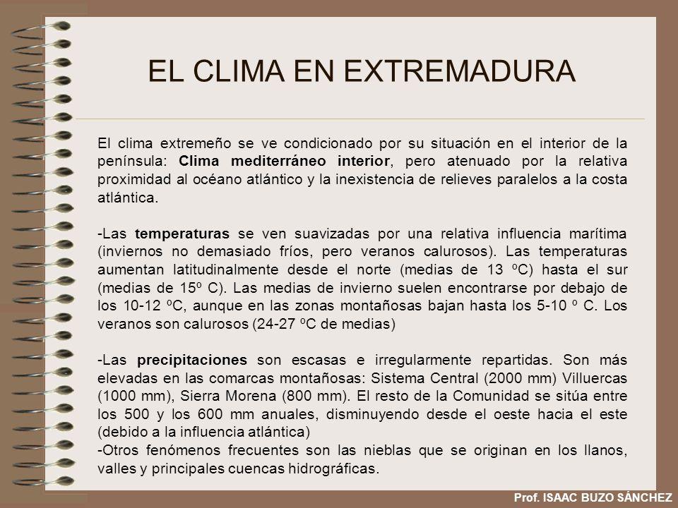 EL CLIMA EN EXTREMADURA Comparación climográmas de Badajoz y Cáceres Prof.
