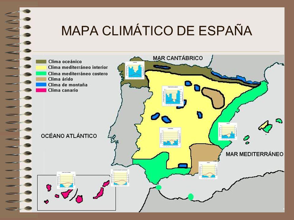 CLIMA OCEÁNICO - Localización: Ocupa el Norte Peninsular - Factores determinantes: proximidad al atlántico, latitud (proximidad al frente polar) -Características: -Precipitaciones abundantes y regulares.