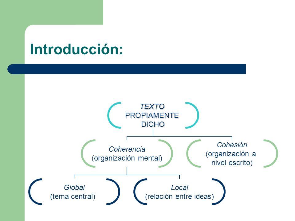 Texto coherente… …en la medida en que podemos asignarle un tema, en otras palabras, cuando podemos deducir de qué trata el texto deducir de qué trata el texto.