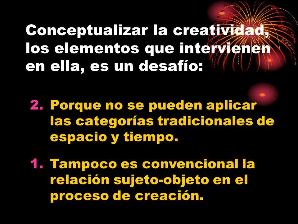 Definiciones Espacio de la creación Tiempo de creación Proceso de creación Sujeto creador Objeto creado Veremos la forma en la que se relacionan…
