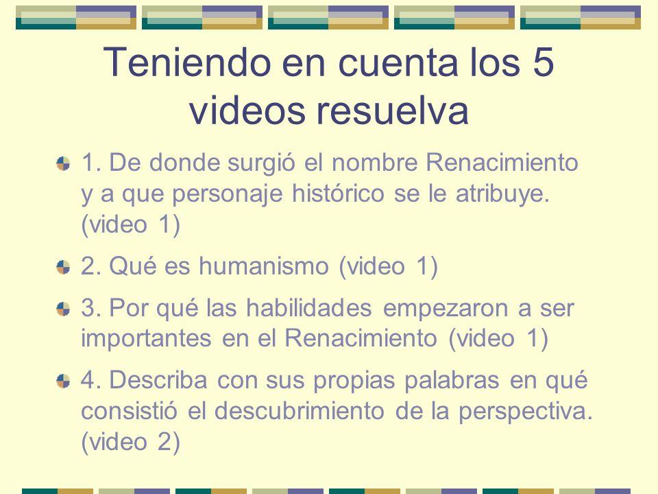5.Qué es planta central (video 2 y 3) 6.