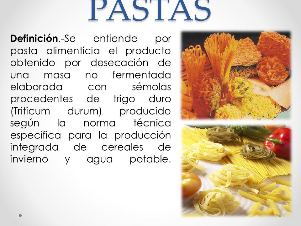 LA PASTA ALIMENTICIA SECA La pasta seca se confecciona con harina de trigo duro o también con semolina, amasadas con agua.