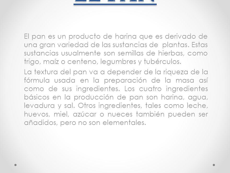 ELABORACIÓN DEL PAN La elaboración del pan es un conjunto de varios procesos en cadena.