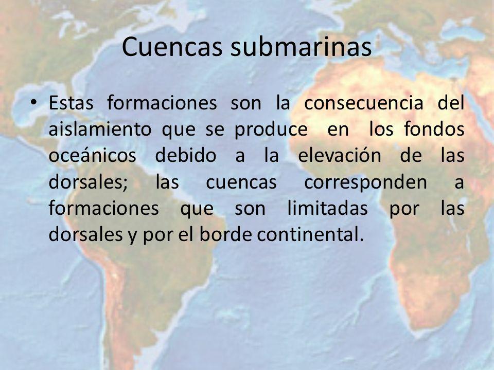 Fosas Corresponden a los bordes continentales, los que adquieren la forma de trincheras submarinas o zanjas de extensas profundidades, las que se ubican paralelas a la costa, como resultado de los movimientos de placas.