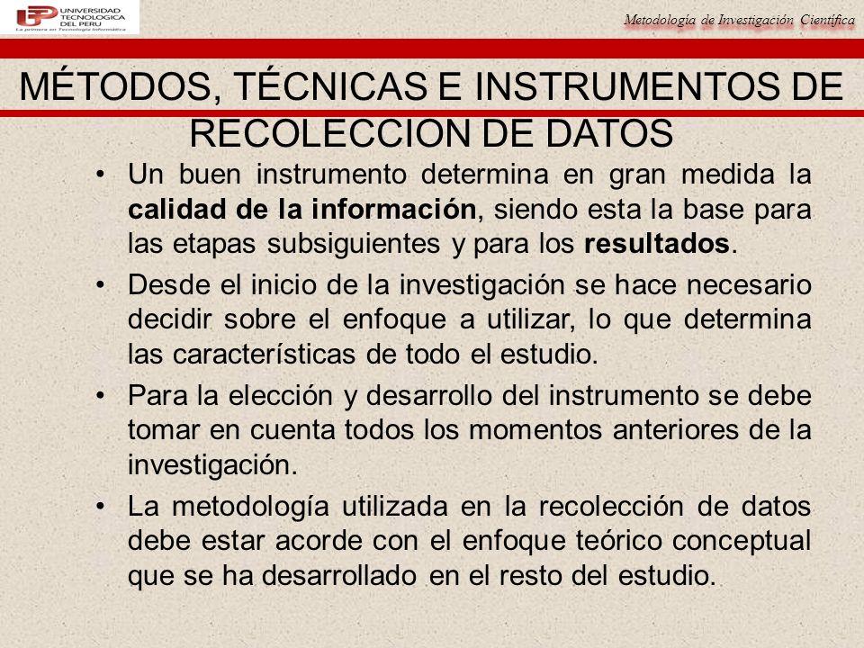 Metodología de Investigación Científica Al momento de definir como se va a abordar la recolección de los datos, se debe definir el tipo de información requerida (cuantitativa, cualitativa o ambas).
