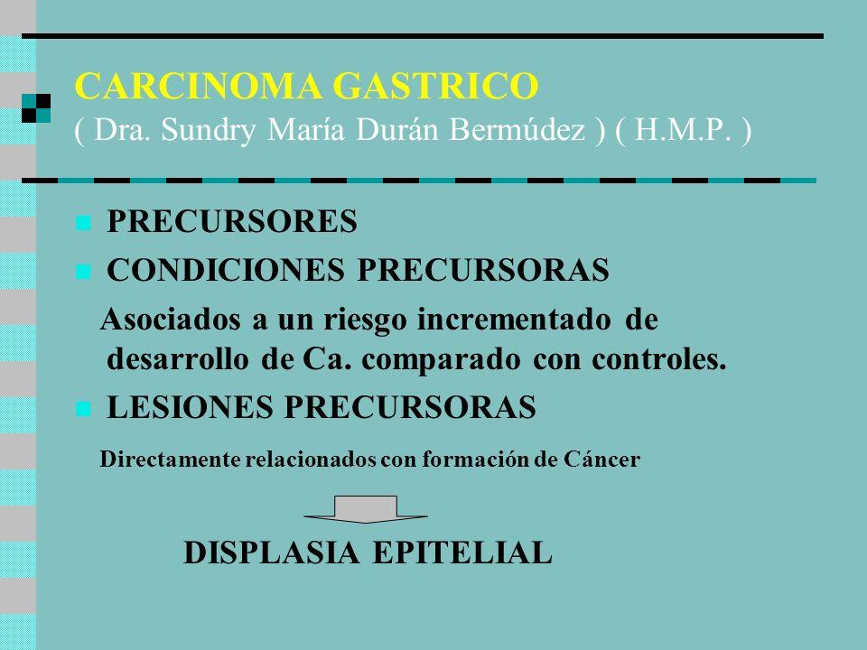 CONDICIONES PRECURSORAS Gastritis crónica Metaplasia intestinal Pólipos gástricos Remanente gástrico Ulcera péptica crónica ?