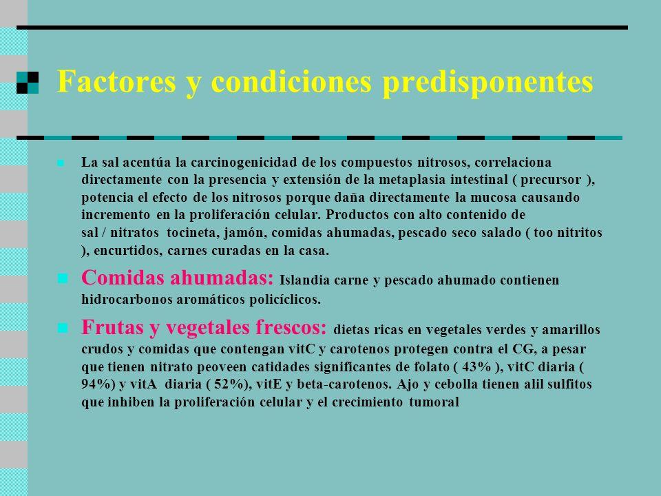 Factores y condiciones predisponentes Los mayores factores etiológicos comprometidos en el desarrollo de CG de tipo intestinal son ambientales.