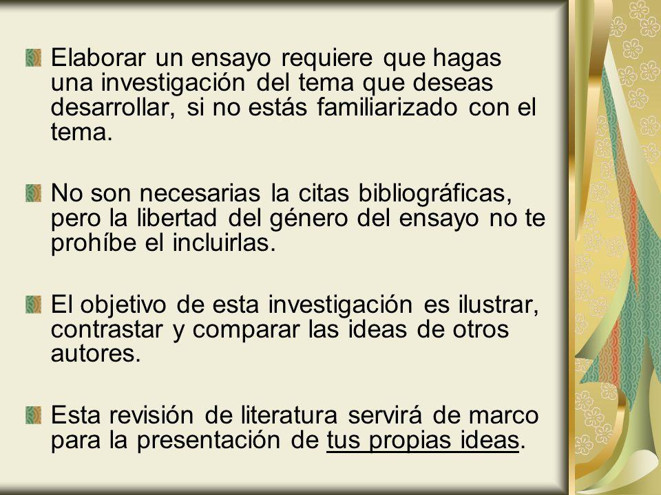 Etapas para la elaboración del ensayo Comprensión y delimitación del tema.