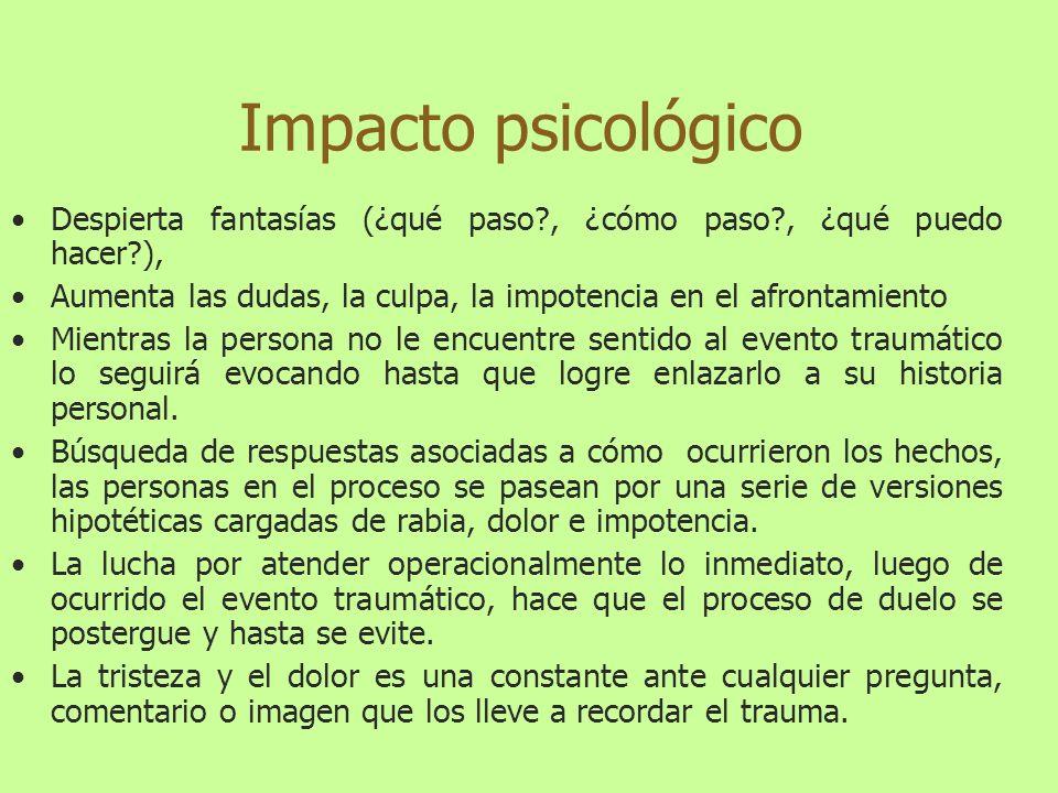 Impacto psicológico del Trauma Se identifican reacciones asociadas a: Cuadros de depresión en sus diferentes variaciones.