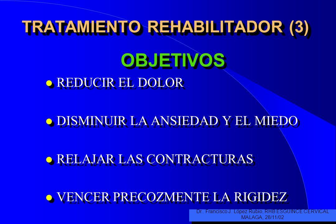 TRATAMIENTO REHABILITADOR (3) OBJETIVOS l REDUCIR EL DOLOR l DISMINUIR LA ANSIEDAD Y EL MIEDO l RELAJAR LAS CONTRACTURAS l VENCER PRECOZMENTE LA RIGIDEZ OBJETIVOS l REDUCIR EL DOLOR l DISMINUIR LA ANSIEDAD Y EL MIEDO l RELAJAR LAS CONTRACTURAS l VENCER PRECOZMENTE LA RIGIDEZ Dr..