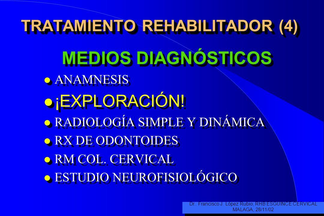 TRATAMIENTO REHABILITADOR (4) MEDIOS DIAGNÓSTICOS l ANAMNESIS ¡EXPLORACIÓN.